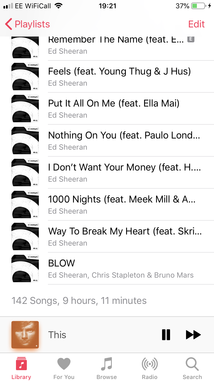 My music playlist! All Ed Sheeran songs!